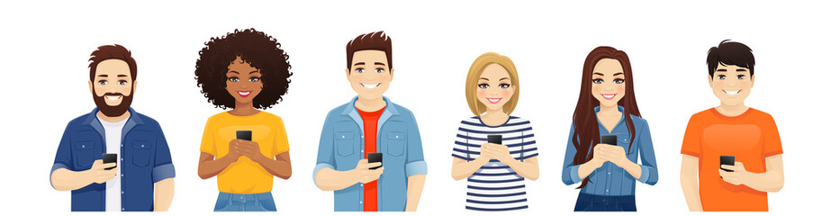 Multiethnic beautiful young people in casual clothes with gadgets. Asian, african and caucasian students use mobile phones isolated vector illustration Fototapete