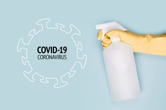Spray to Cleaning and Disinfection Virus, Covid-19, Coronavirus Disease, Preventive Measures.  Sanitation and cleaner washing. Virus being killed by spray, disinfectant solution. Stop Covid-19.