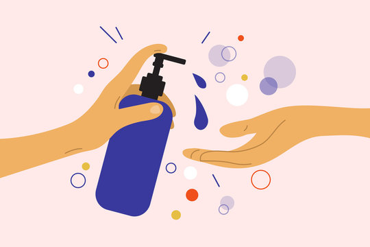 Disinfection or virus protection. Human hand holds dispenser with sanitizer antibacterial gel. Liquid soap bottle. Wash your hands concept. Prevent infection, coronavirus bacteria. Vector illustration