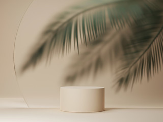 3D podium display on beige background with palm tree leaf.  Tropical summer  minimal holiday beauty product promotion pedestal platform mockup. Natural 3D render copy space banner trendy illustration  Wall mural