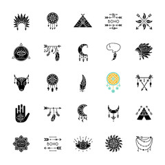 Papiers peints Style Boho Boho style black glyph icons set on white space. Native American Indian amulets. Dreamcatcher ethnic charms. Vintage pendant. Silhouette symbols. Vector isolated illustration