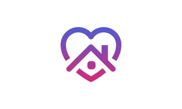 Stay home heart sticker icon for quarantine company coronavirus covid