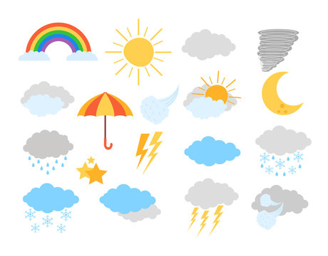 Weather meteorology icon elements isolated set. Vector flat graphic design cartoon illustration