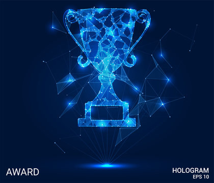 A hologram award. Award from polygons, triangles of points and lines. Award low-poly compound structure. The technology concept.