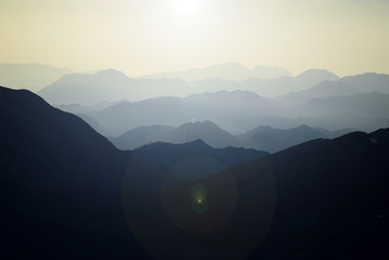 mountain ranges,silhouette and layers