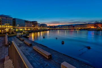 Rhone river by night in Geneva, Switzerland, HDR