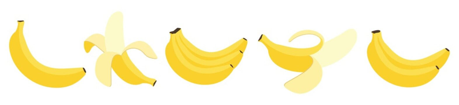 Cartoon bananas. Peel banana,  isolated on white background,  banana icon vector illustration set