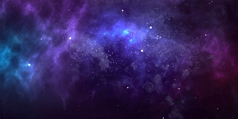 Vector cosmic watercolor illustration. Colorful space background with stars Fototapete