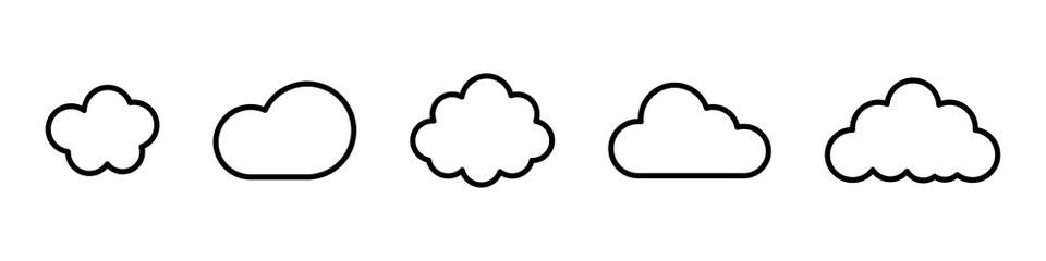 Cloud line vector icon. Set of cloud line isolated signs or icon. Abstract shape. Linear graphic. Cloud outline set.