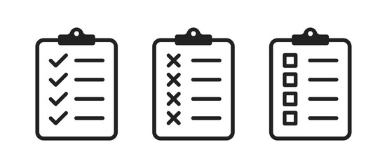 Clipboard checklist or document. Vector isolated icons or signs. Clipboard with checkmark cross and text. Clipboard concept vector. Checklist document. Clipboard icon vector.