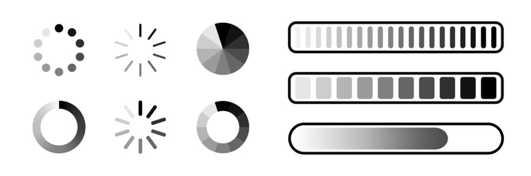 Loading process bar vector isolated elements on white backgroud. Vector loading processing signs. Process bar indicators.