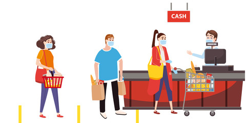 Supermarket store counter cashier and buyers in medical masks, with cart and basket of food Wall mural