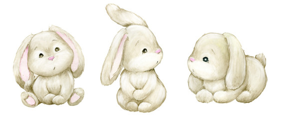 Small bunnies on an isolated background. Watercolors, animals, for the Easter holiday. and children's holidays.