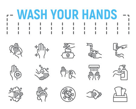 Wash your hands thin line icon set, health symbols collection, vector sketches, logo illustrations, hygiene icons, stop coronavirus signs linear pictograms package isolated on white background.
