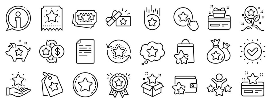 Bonus card, Redeem gift and discount coupon signs. Loyalty program line icons. Lottery ticket, Earn reward and winner gift icons. Shopping bag, loyalty card and lottery present. Vector