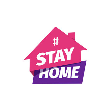 Hashtag Stay at home vector icon. Self isolation flat sticker. Quarantine logo.