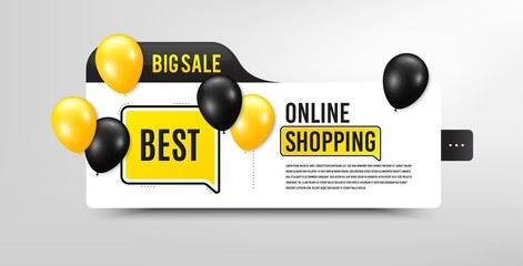 Best sign. Sale banner with balloons. Special offer Sale sign. Advertising Discounts symbol. Speech bubble megaphone. Online shopping banner with balloons. Best promotion. Black friday concept. Vector