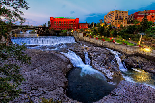 Spokane Falls and City Skyline Summer Evening