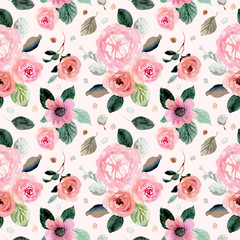 Spoed Fotobehang Kunstmatig sweet pink green floral watercolor seamless pattern