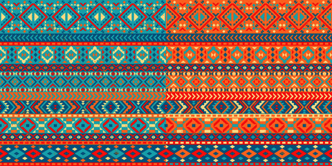 Wall Murals Boho Style A set of two seamless patterns with a Mexican pattern. Decorative borders with a geometric pattern. Texture background.
