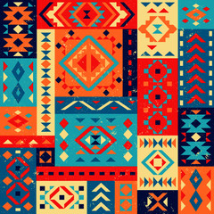 Bright geometric pattern in the Mexican style. Ornaments in geometric shapes. Triangles, squares, rhombuses, rectangles. Texture background.