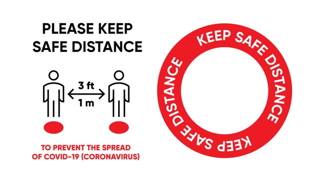 Keep Safe Distance Red Dot on Floor in Public Place, Shop, Mall. Social Distancing Protection and Prevention from Coronavirus COVID-19. Editable Line Vector