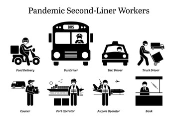 Virus pandemic second-liner workers. Vector icons of food delivery rider, bus taxi truck driver, courier, postman, mailman, port airport operator, and bank staff wearing surgical mask. Wall mural