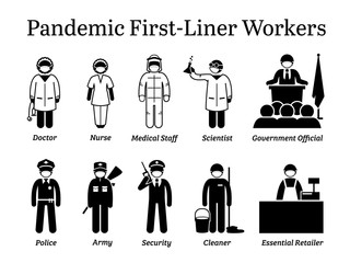 Virus pandemic first-liner workers. Vector icons of doctor, nurse, medical staff, scientist, government official, police, army, security guard, cleaner, and essential retailer wearing surgical mask.