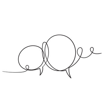 hand drawn bubble speech illustration with one single line style