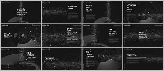 Presentation design vector templates, multipurpose template for presentation slide, flyer, brochure cover design, infographic report presentation. Futuristic background for digital technology concept.