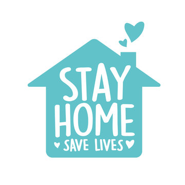 Stay home, save lives vector,  Typography campaign poster with text for your own quarantine time. family Motivational quotes to stay safe at home from disease outbreaks. text with the house logo.