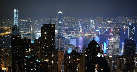 Wall Mural - Hong Kong city at night