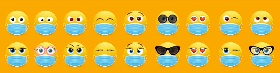 Corona virus face mask emoji set, vector isolated illustration
