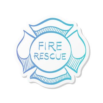 Sticker style icon - Firefighter emblem