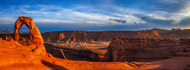 Panorama of Utah's landmark Delicate Arch at dusk
