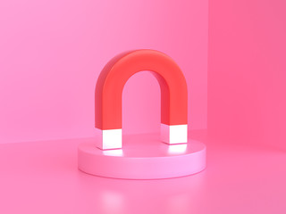 pink background 3d rendering red magnet Fotobehang