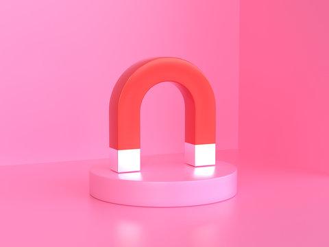 pink background 3d rendering red magnet