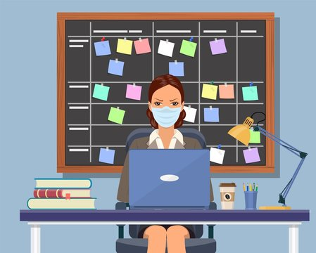 Business woman working at desk with medical mask Planning schedule on task board concept. Planner, calendar on whiteboard. List of event for employee. Vector illustration in flat style