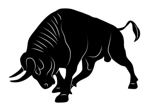 Bull silhouette attack logo On a transparent background