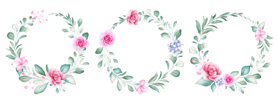 Set of round watercolor floral wreath. Botanic decoration illustration of peach roses and blue flowers, leaves, branches. Botanic elements for wedding or greeting card design vector