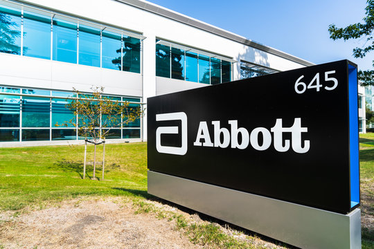 Oct 15, 2019 Sunnyvale / CA / USA - Close up of Abbott Laboratories sign at their headquarters in Silicon Valley; Abbott Laboratories develops a broad line of health care products and services