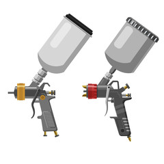 Set Paint spray gun professional tool airbrush isolated