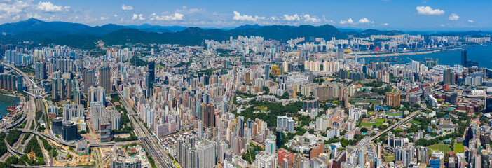 Wall Mural - Aerial view of Hong Kong city