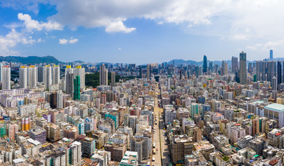Fototapete - Drone fly over Hong Kong city