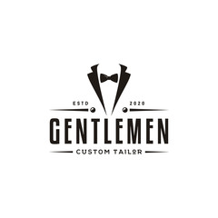 Bow Tie Tuxedo Suit Gentleman Fashion Tailor Clothes Vintage Classic Logo design