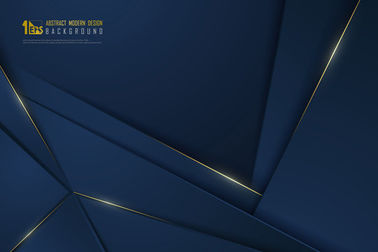 Abstract gradient blue luxury design of overlap template with gold line background. illustration vector eps10