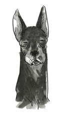 黒い犬ー正面ー目を閉じる