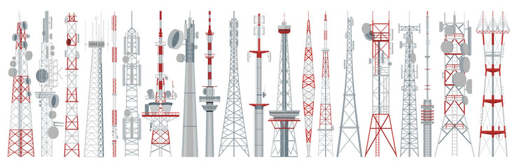 Radio tower isolated cartoon set icon. Vector cartoon set icon broadcast antenna. Vector illustration radio tower on white background. Fotomurales