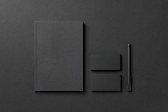 black corporate identity, mockup to be completed by graphic design