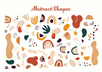 Fototapete - Decorative abstract collection with colorful doodles and abstract shapes. Hand-drawn modern illustration